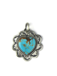 Kingman Turquoise Heart Pendant by Philbert Secatero (PD4349)
