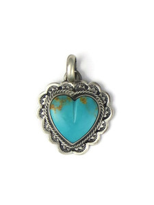 Kingman Turquoise Heart Pendant by Philbert Secatero (PD4350)