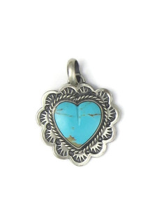 Kingman Turquoise Heart Pendant by Philbert Secatero (PD4351)