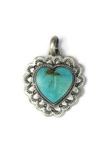 Kingman Turquoise Heart Pendant by Philbert Secatero (PD4352)