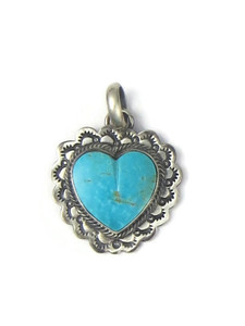 Kingman Turquoise Heart Pendant by Philbert Secatero (PD4353)