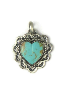 Kingman Turquoise Heart Pendant by Philbert Secatero (PD4359)