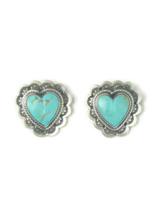 Kingman Turquoise Heart Post Earrings (ER5129)