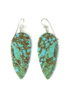 Turquoise Feather Slab Earrings (ER5757)