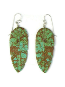 Turquoise Feather Slab Earrings (ER5758)