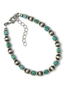 Turquoise Silver Bead Bracelet (BR6430)
