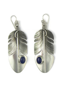 Lapis Silver Feather Earrings by Lena Platero (ER5777)