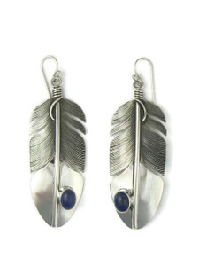Lapis Silver Feather Earrings (ER5778)