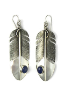 Lapis Silver Feather Earrings by Lena Platero (ER5779)