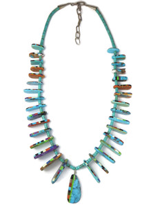 Turquoise Heishi Inlay Tab Necklace (NK4878)