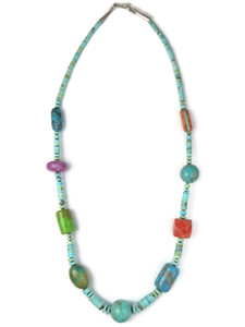 Turquoise Heishi Gemstone Bead Necklace (NK4879)