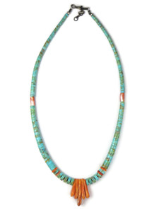 Turquoise & Spiny Oyster Shell Jacla Necklace by Daniel Coriz (NK4881)