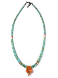 Turquoise & Spiny Oyster Shell Jacla Necklace by Daniel Coriz (NK4881)