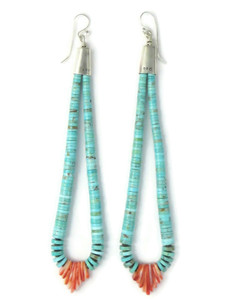 "Turquoise & Spiny Oyster Shell Jacla Earrings 5"" (ER5857)"