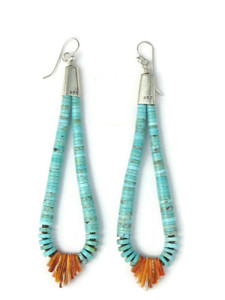 "Turquoise & Spiny Oyster Shell Jacla Earrings 4 1/4"" (ER5858)"