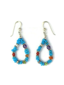 Turquoise & Gemstone Beaded Earrings (ER5668)