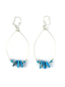 Silver Turquoise Loop Earrings (ER5877)