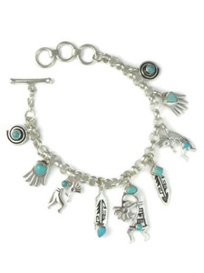 Silver Turquoise Charm Bracelet (BR6431)