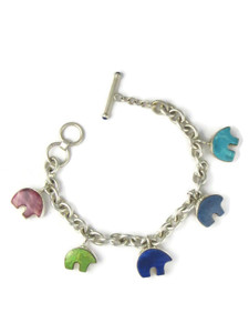 Multi Gemstone Bear Charm Bracelet (BR6433)