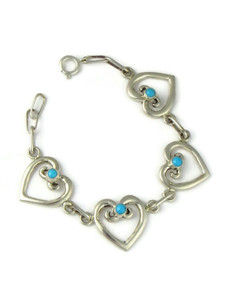 Sleeping Beauty Turquoise Heart Link Bracelet (BR6434)