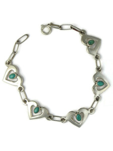 Turquoise Heart Link Bracelet by Mildred Parkhurst (BR6435)