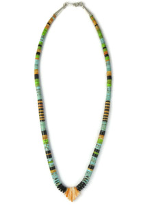 Turquoise Gemstone Heishi Jacla Necklace (NK4886)