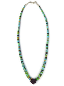 Turquoise Gemstone Heishi Jacla Necklace (NK4887)
