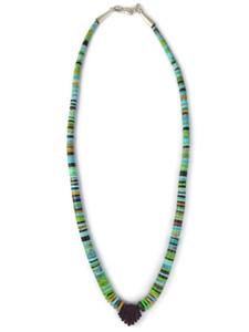 Turquoise Gemstone Heishi Jacla Necklace (NK4887)