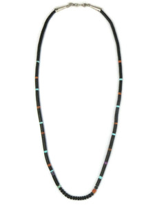 """Jet, Turquoise & Coral Heishi Necklace 19"""" (NK3150)"""