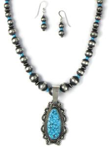 Kingman Turquoise Necklace Set by Derrick Gordon (NK4891)