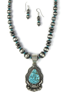 Kingman Turquoise Necklace Set by Derrick Gordon (NK4892)
