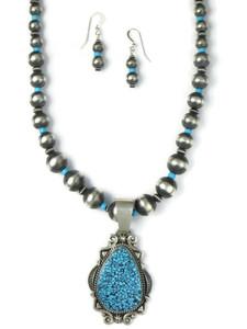 Kingman Turquoise Necklace Set by Derrick Gordon (NK4893)