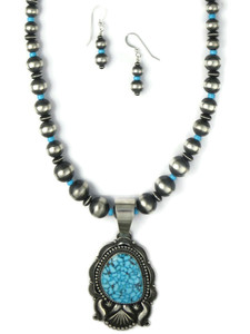 Kingman Turquoise Necklace Set by Derrick Gordon (NK4894)
