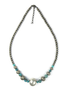Turquoise Silver Bead Necklace (NK4896)