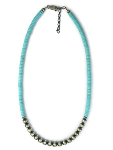 Turquoise Silver Bead Necklace (NK4897)