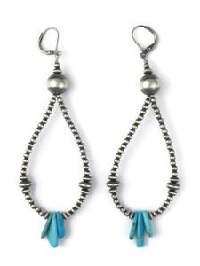 Silver Bead Turquoise Loop Earrings (ER5894)