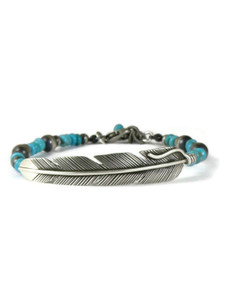 Turquoise Beaded Silver Feather Bracelet (BR6449)