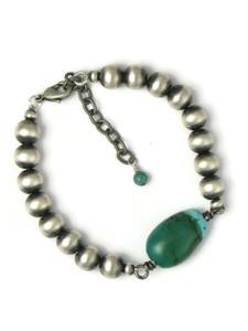 Silver Turquoise Bead Bracelet (BR6451)