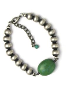 Silver Turquoise Bead Bracelet (BR6452)