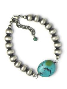 Silver Turquoise Bead Bracelet (BR6453)