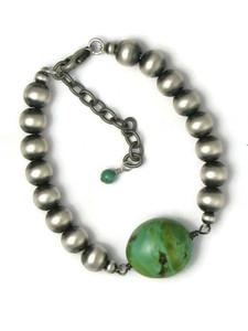 Silver Turquoise Bead Bracelet (BR6454)