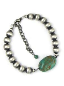 Silver Turquoise Bead Bracelet (BR6455)