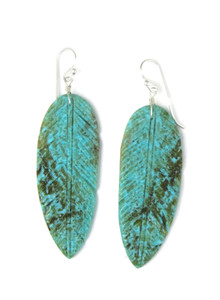 Turquoise Feather Slab Earrings (ER5929)