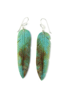 """Turquoise Feather Slab Earrings 2 3/4"""" (ER5932)"""