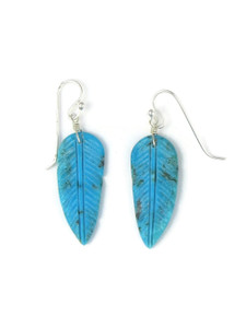 Turquoise Feather Slab Earrings (ER5933)