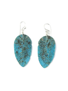 Turquoise Feather Slab Earrings (ER5934)