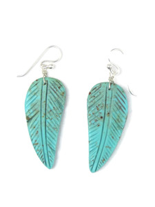 Turquoise Feather Slab Earrings (ER5935)