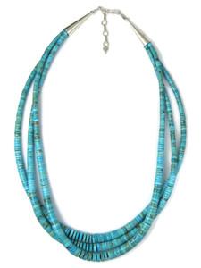 Three Strand Turquoise Heishi Necklace (NK4916)