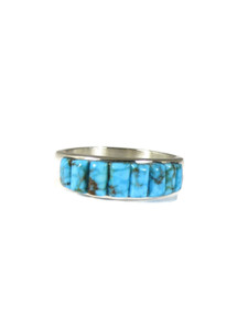 Kingman Turquoise Inlay Ring Size 13 1/2 (RG6008)