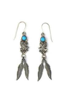 Turquoise Silver Eagle Feather Earrings (ER5969)
